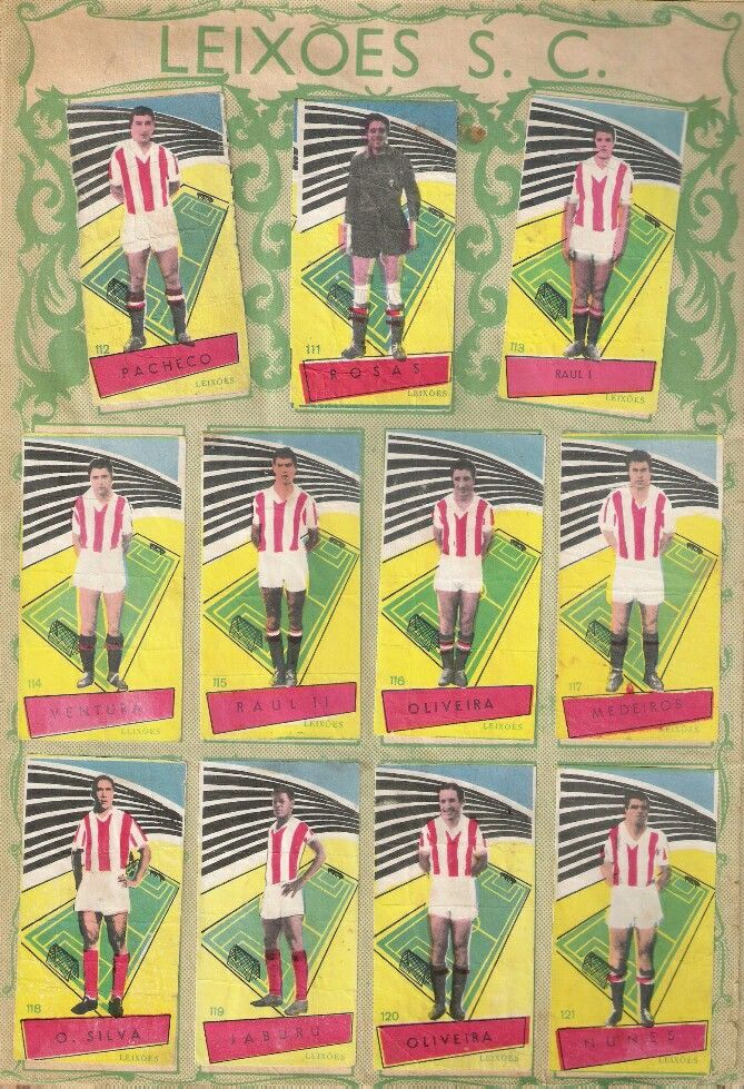 Leixoes SC of Portugal team stickers from the 1960s.