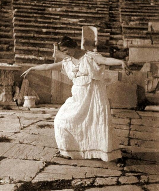 Isadora Duncan (considered the inventor of modern dance) dancing in the Dionysos theater of Athens. Photography by Raymond Duncan, 1903.