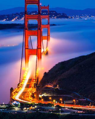 A cloudy sunrise at the Golden Gate Bridge in San Francisco.