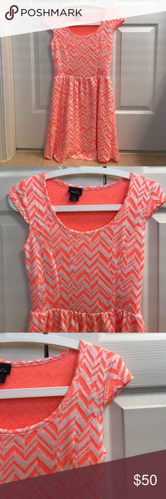 Size M Rue 21 orange chevron cap sleeve dress Size M Rue 21 orange chevron cap sleeve dress Rue21 Dresses