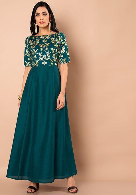 9cb5abb5c71 Teal Printed Yoke Maxi Tunic | Clothing | Tunic, Dresses, Tunics online