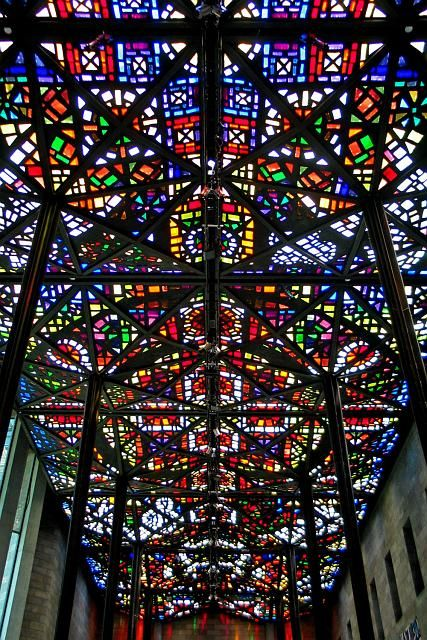 NGV International, Melbourne - Leonard French's stained-glass ceiling in the Great Hall