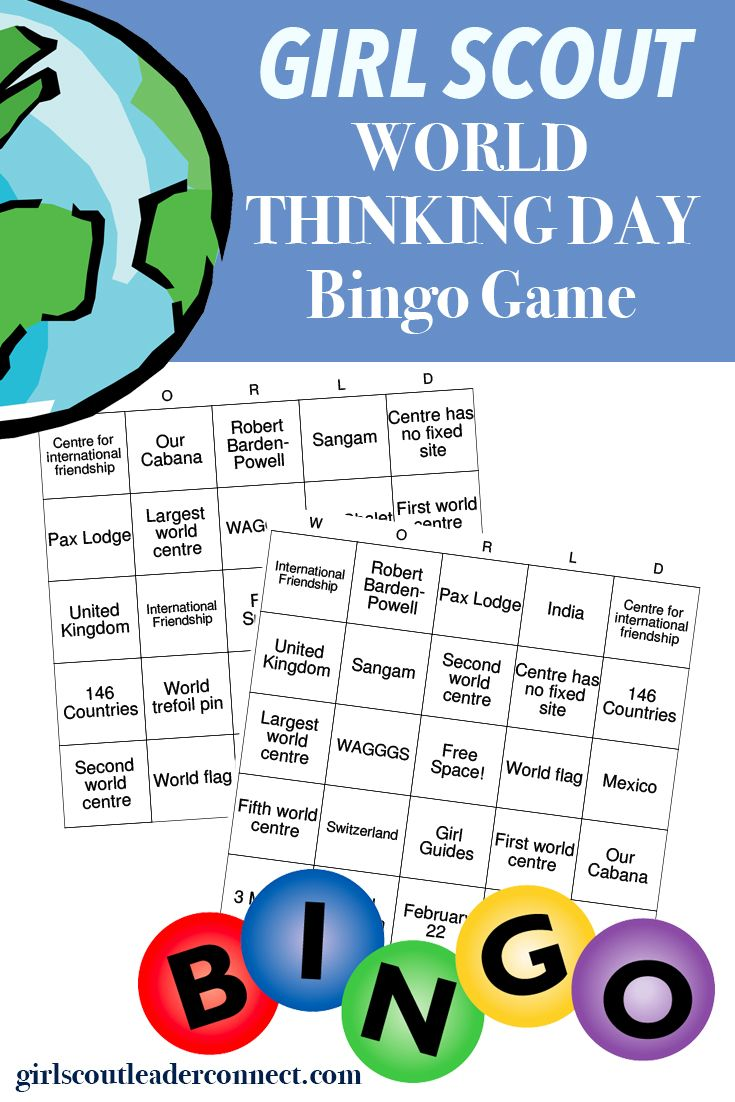 During your Girl Scout World Thinking Day event teach your girls all about Girl Guides, WAGGGS, World Centres and more using a fun game of bingo. There are 24 different facts. When you draw a word tell the girls what each thing means. After one game play again and have girls tell you what each …