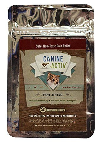 CanineActiv Medium Breed Safe Non-Toxic Pain Relief for Dogs Weighing 25-65 lbs, Travel Pack 28 Capsules (225 mg) ** See this great product.