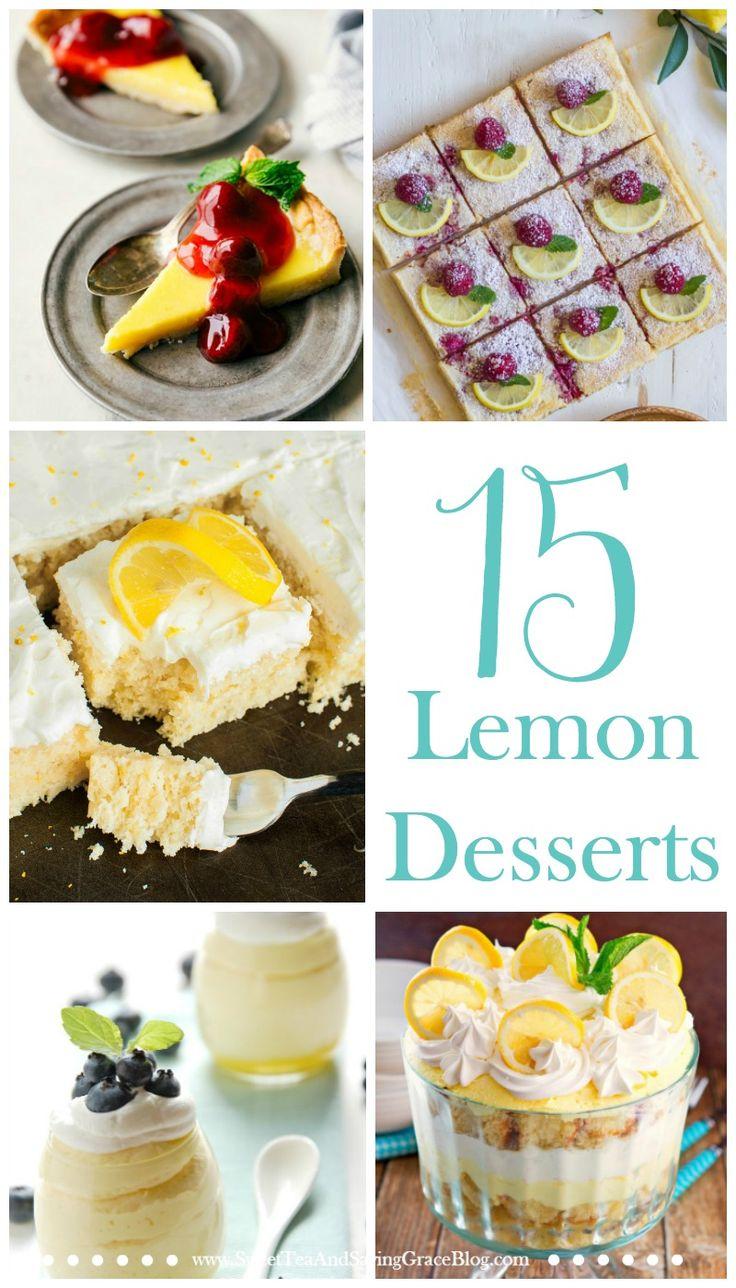 Lemon desserts are perfect for spring & summer! Try new lemon cakes, lemon cookies, and lemon bars for a delicious snack or party dessert!  http://sweetteaandsavinggraceblog.com/15-lemon-desserts/?utm_campaign=coschedule&utm_source=pinterest&utm_medium=Sweet%20Tea%2C%20LLC%20%20%7C%20%20Blogging%20and%20Email%20Marketing&utm_content=15%20Delicious%20and%20Refreshing%20Lemon%20Desserts