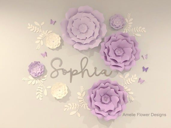 Purple 3d Paper Flowers Nursery Wall Decor Large Purple Paper Etsy Paper Flower Wall Paper Flowers Flower Nursery
