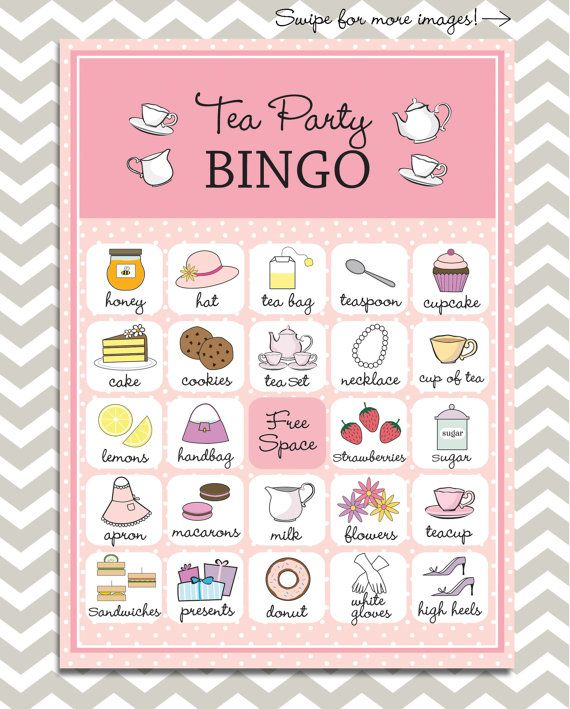 Tea Party Bingo, 20 unique game cards, Printable Instant download!