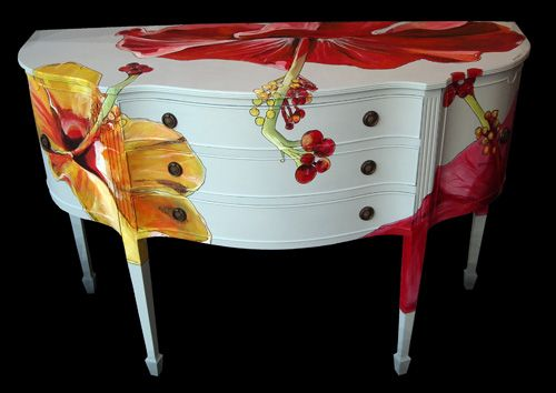 Hibiscus Sideboard + Can be an Easy DIY + IMO + Perfect for Beach House Decor + Vibrant Colors + Tropical Home + Florida Cottage
