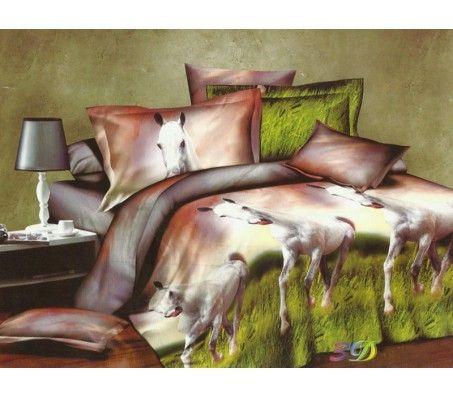 3D Double Bed Linen Set - Horses 5