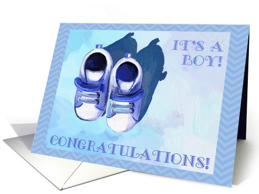 It's a Boy! Congratulations! Oil painting of baby shoes in blue. card