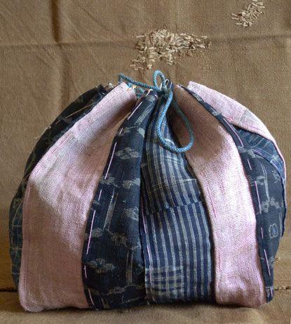 Indigo dyed rice bag: Generito Textiles, Asabenibanakomebukuro1A, Textiles Bags, Rice Bags