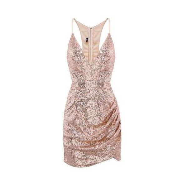 Sequin Dress with Cut Out Back (105 BRL) ❤ liked on Polyvore featuring dresses, bodycon cocktail dress, brown bodycon dress, body con dress, sequin cocktail dresses and v neck sequin dress