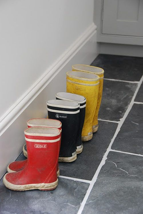 """Wellies!  When I was a little girl, I walked to school most days in my wellies, carrying my shoes in a """"shoe bag"""".  We would leave our wellies and coats in the cloakroom during classes.  Sweet memories of my childhood in England"""