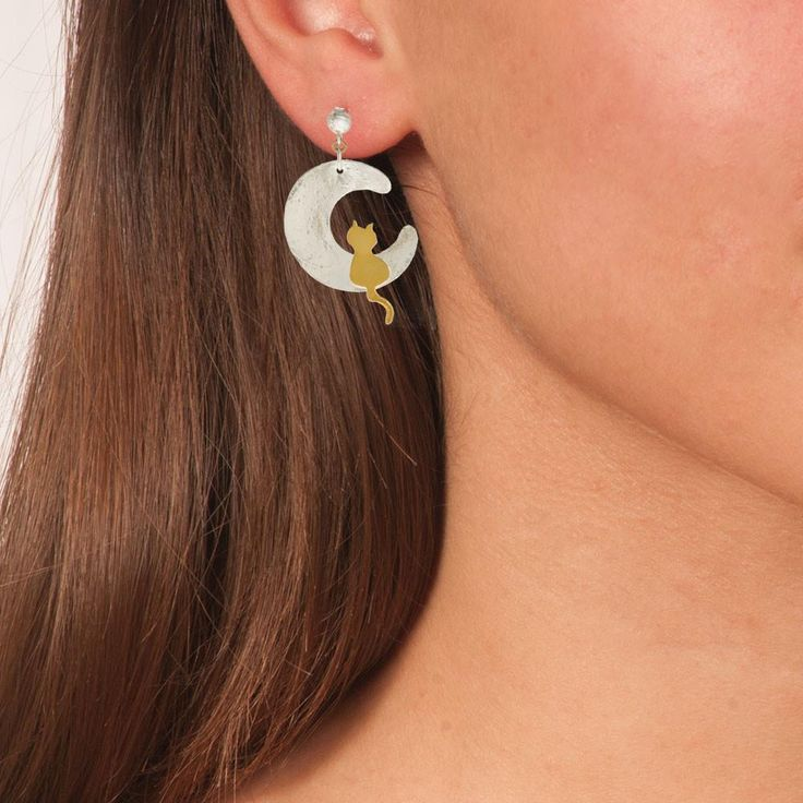 Handmade Silver Gold Plated Stud Earrings Moon Cat - Anthos Crafts