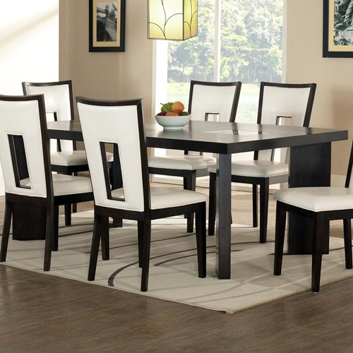 Delano contemporary dining table with cracked glass insert for Cracked glass dining table