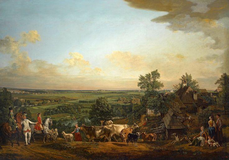 View of Wilanów meadows by Bernardo Bellotto, 1775 (PD-art/old), Zamek Królewski w Warszawie (ZKW), commissioned by Stanislaus Augustus; with Maria Teresa Poniatowska and Józef Poniatowski on horseback