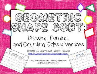 Free on TpT 2nd Grade: Geometric Shape Sort- again, wish I would have found this a few weeks ago:/