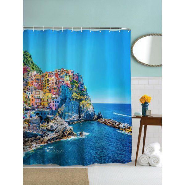 Mediterranean Fishing Villages Print Waterproof Shower Curtain