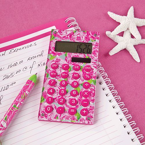 Cute + Pink + Fun. It all adds up to fabulous. You do the math! This Lilly Pulitzer Calculator is sure to brighten up that dull math class and make it fun.  Adding up receipts or filing taxes will also be more enjoyable with this designer calculator!  Slim and lightweight, it's the perfect size calculator.  