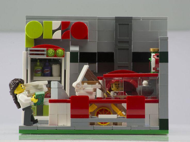 Rebrick contest: Green Grocer - New Pizzeria (signoraceppo) Tags: lego pizzeria takeaway pizza modular building rebrick contest