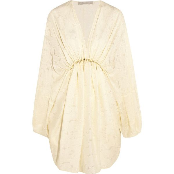Stella McCartney Elitta draped fil-coupé satin mini dress ($2,490) ❤ liked on Polyvore featuring dresses, white, white beaded dress, white beaded cocktail dress, slip dress, short beaded cocktail dresses y white cocktail dresses