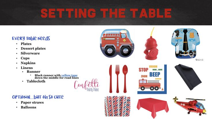 Emergency Vehicle Table Setting, Rescue Vehicle Tabletop, Emergency Vehicles Birthday Party Plan • Confetti Party Plans