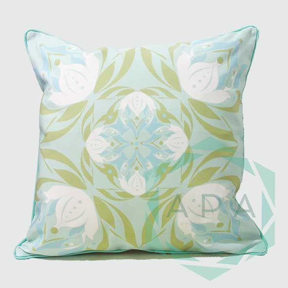 Inspired by the lotus flower, the design is characterised by a geometric print while a self-piped edge adds a neat finishing touch.  Lotus1green cushion comes in 2 sizes:  45x45= Rp. 350,000 60x60= Rp. 450,000  For inquiries email us apaproductionhouse@gmail.com