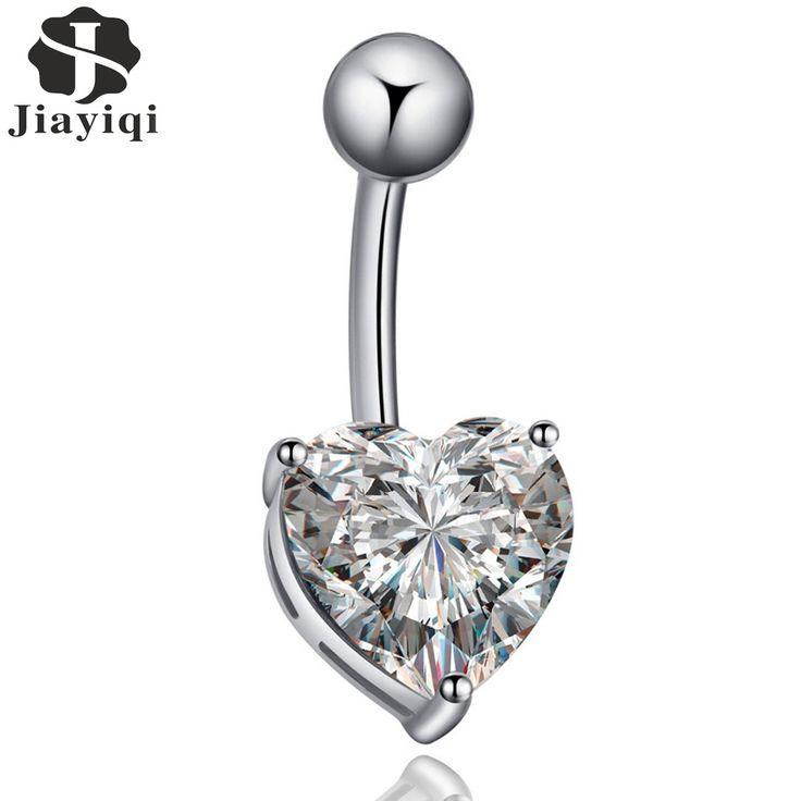 2017 neue Heiße Verkauf Piercing Kubikzircon Kristall Herzform körper Schmuck Mode Bauchnabel Ringe Silber farbe für Frauen geschenk