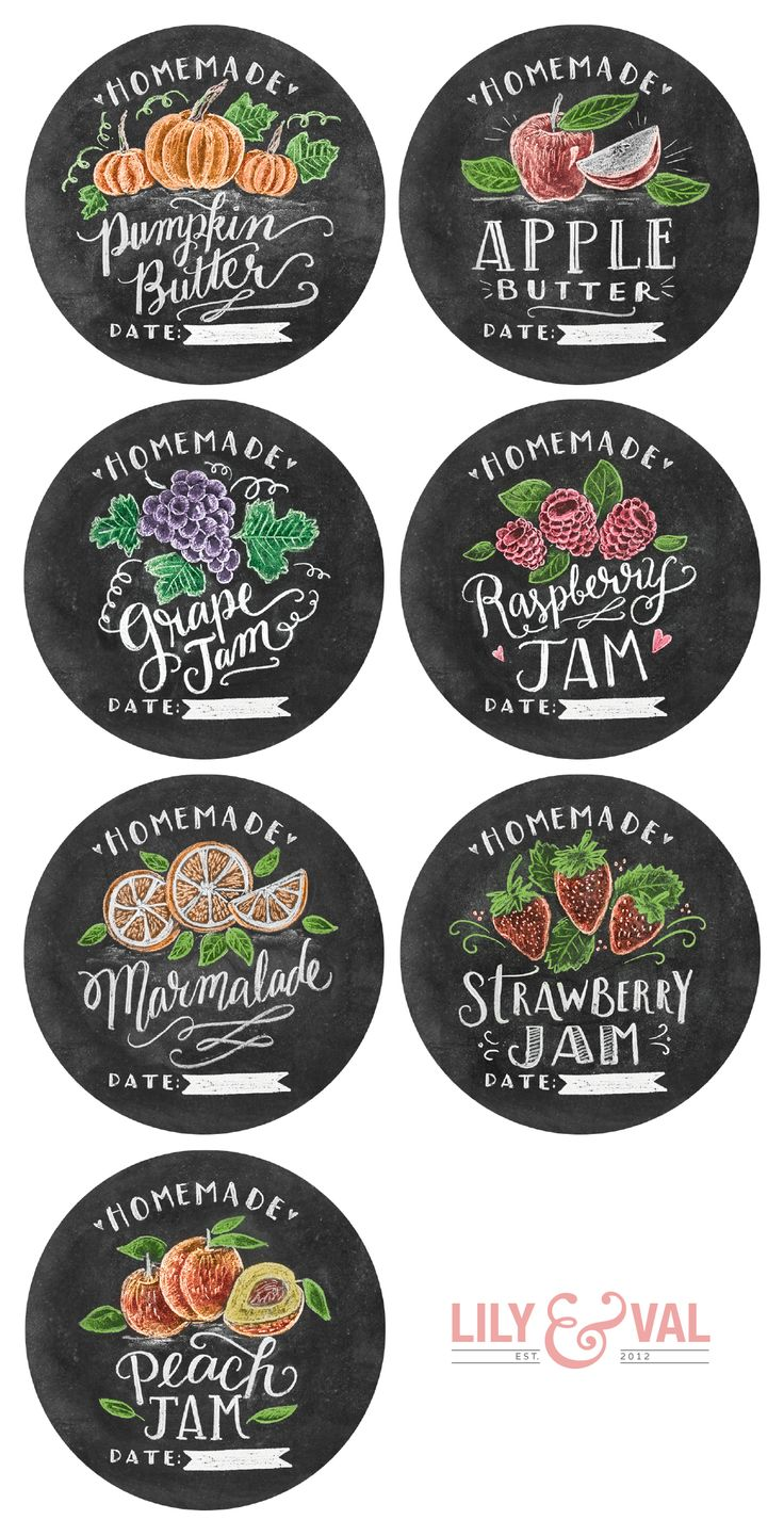 Free Hand-Drawn Chalk Art Jam labels and Pumpkin recipe by @lilyandval