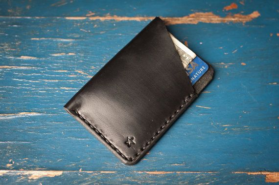 The Minimalist: micro card wallet, hand stitched Horween leather - black/black
