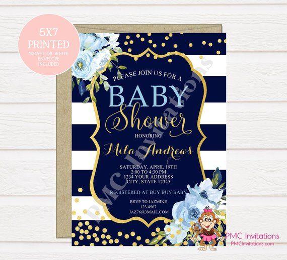 Custom Printed Blue Floral Watercolor Baby Shower Invitations Etsy Watercolor Baby Shower Invitations Baby Shower Invitations Etsy Watercolor Baby Shower