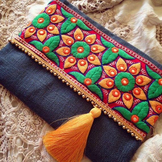 Boho Style Bag, Bohemian Clutch, Ethnic Clutch, Burlap Handmade Handbag, Floral Clutch, Womens Bag, Clutch Purse