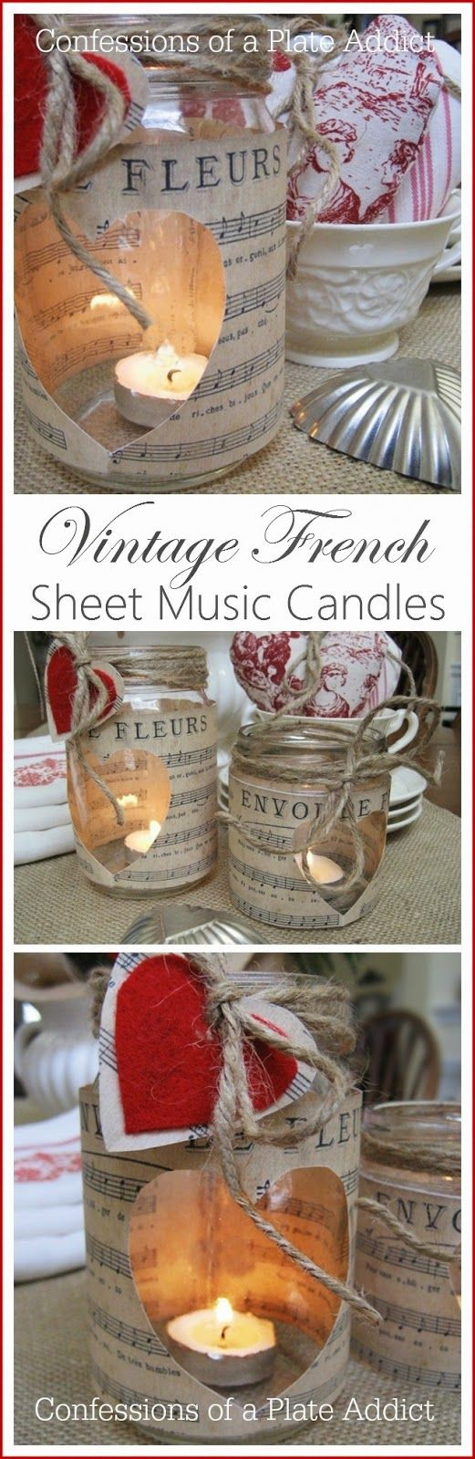Vintage French Sheet Music Candles