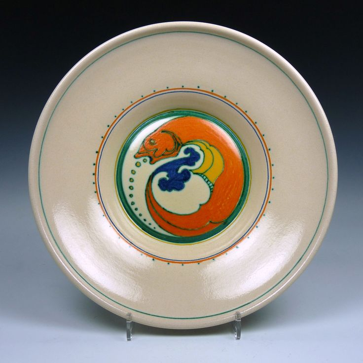 Kennemer Potterij Velsen - a wall plate with a fish