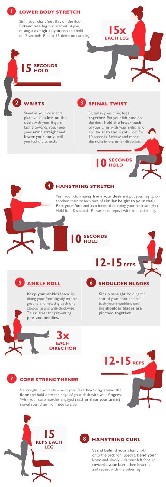 12 Exercises You Can Do Even At Work  Workout  Exercise