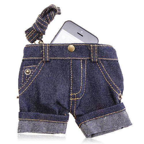 Blue Short Jeans Pouch For Mobile Phone #blue #short #pouch #smartphone #jeans $9.86