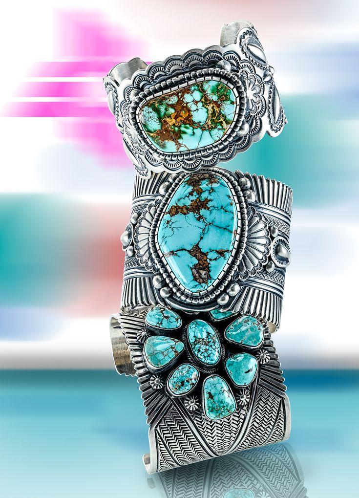 Handmade turquoise cuffs