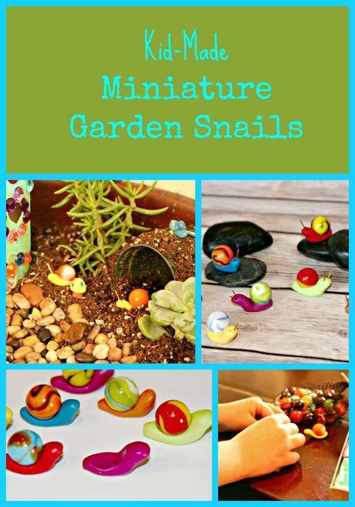 Kid-Made Miniature Garden Snails - These cute snails will add such a cute touch to your garden or potted plants!