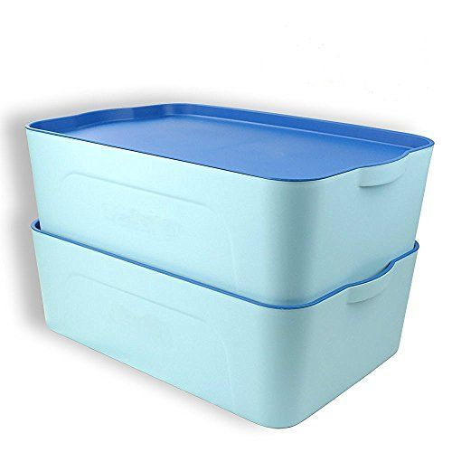 Cand Plastic Stackable Storage Boxes with Lid18quart Blind Heavy Duty 17 X 11 X 5 set of 2 Blue >>> Check out the image by visiting the link.