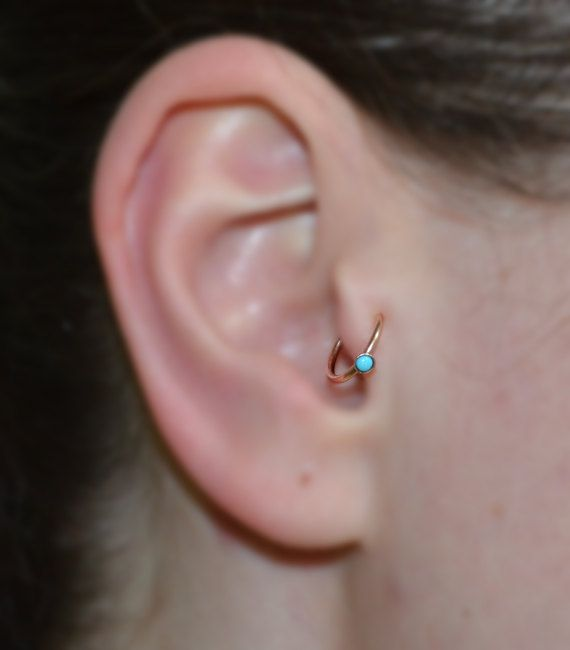 f79534eaf TRAGUS JEWELRY // Solid Gold Tragus Earring Turquoise 18g – Nose Hoop –  Forward Helix Earring – Dait · 2mm ...