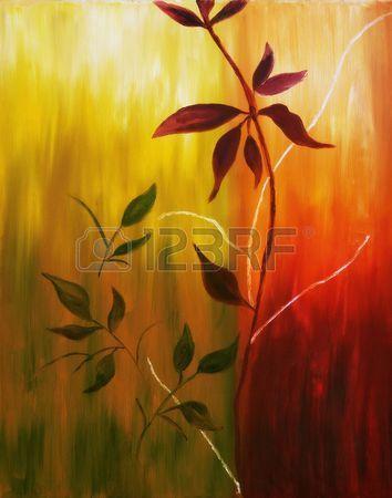 Originele olieverf schilderij op doek van de herfst bladeren op warme herfst achtergrond  Stockfoto