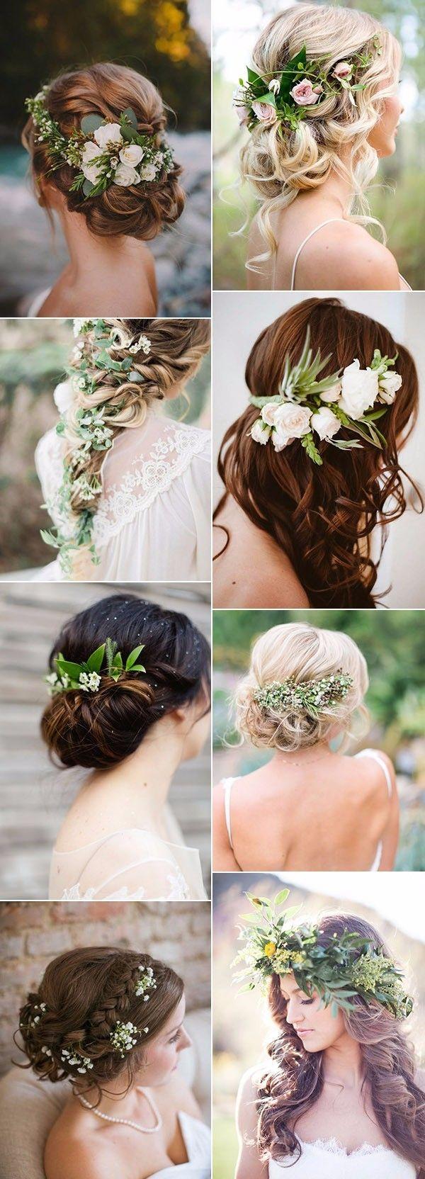 Plantas, flores e folhagens no penteado da noiva