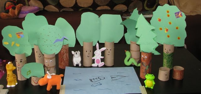Upcycled tp rolls tree: Forest Model great for pretend play too.
