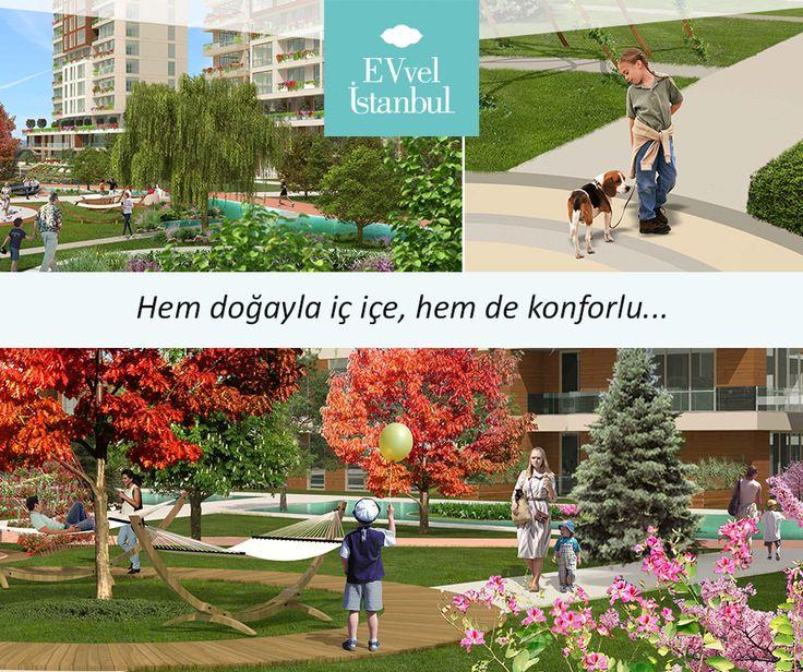 EVvel İstanbul'daki yürüyüş yolları, süs havuzları, koşu ve bisiklet yolları, piknik alanları, hamaklar, konforlu dinlenme alanları rengarenk bir yaşam imkanı tanıyor. http://www.evvelistanbul.com/bahceler.html