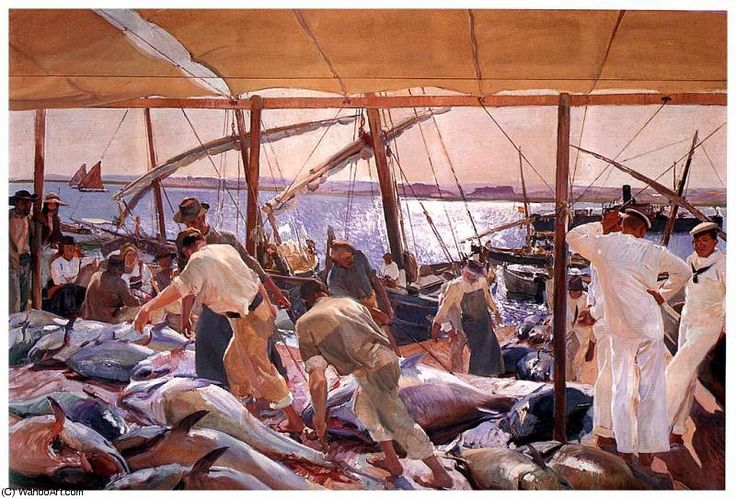 """Ayamonte: Pesca del Atún"". Obra de Joaquín Sorolla. 1919. Hispanic Society of America. (Nueva York)"