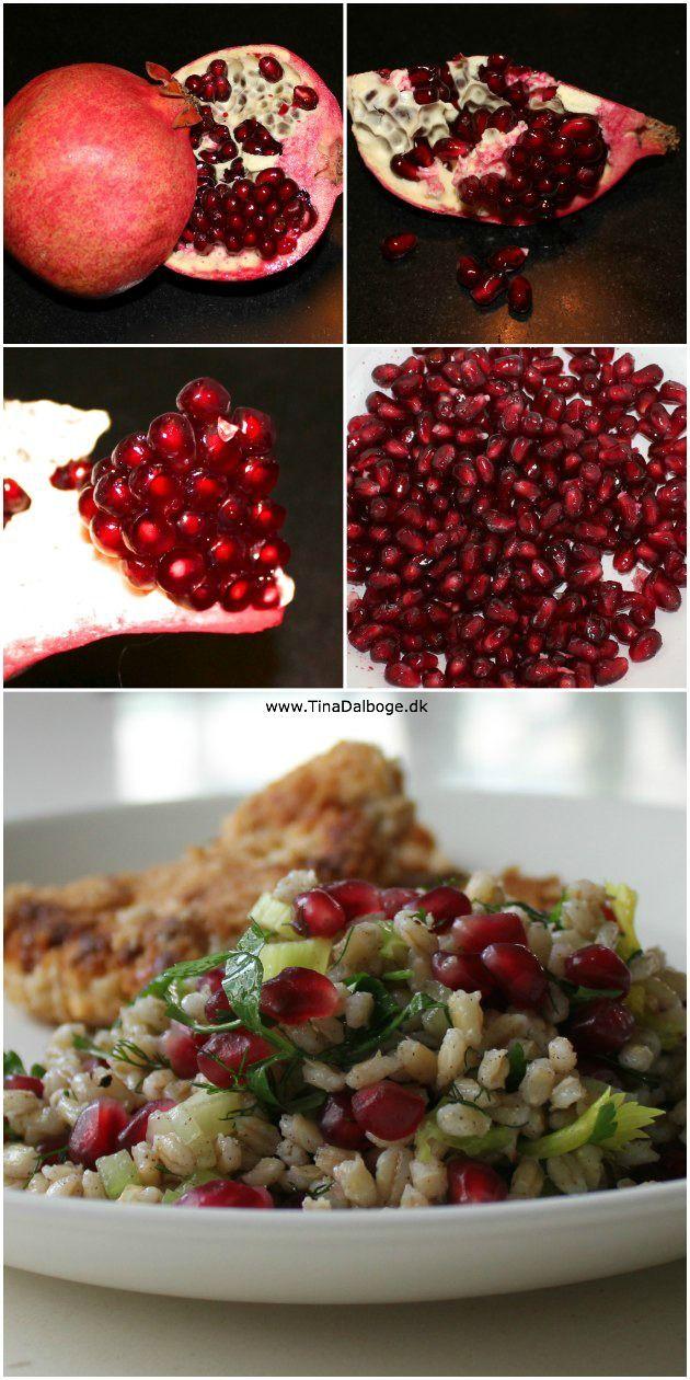 Lækker salat med perlebyg og granatæble #perlebygsalat