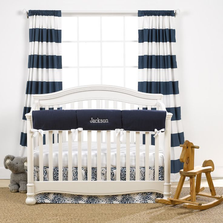 Navy Monogram Basics Crib Bedding