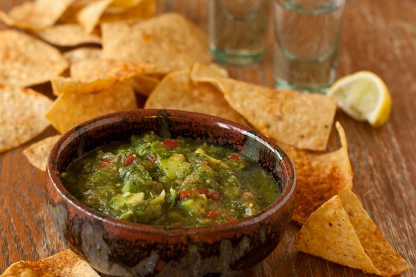 Roasted Tomatillo and avocado salsa from The Recipe Renovator.