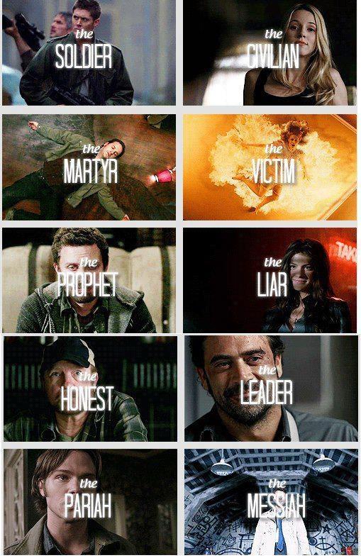 supernatural>>top left to right. Dean, Jo, Gabriel (Trickster), Mary, Chuck, Ruby, Bobby, John, Sam, Castiel