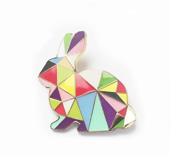 Rabbit Brooch Pin Harlequin Bunny Enamel Geometric  This little Easter Bunny is the perfect geometric accessory for any Winter Coat or Summer Cardigan.